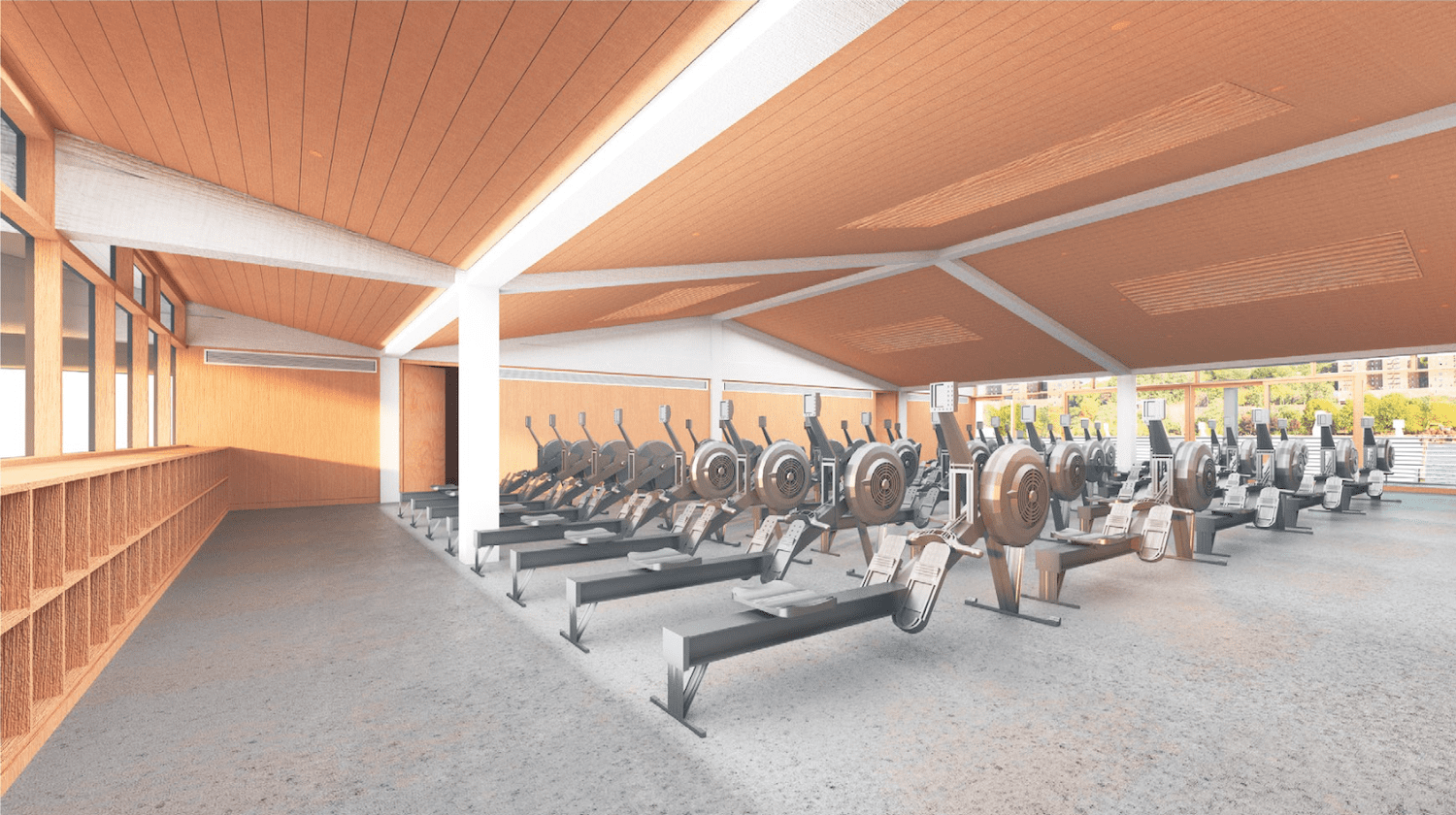 multipurpose room with ergs